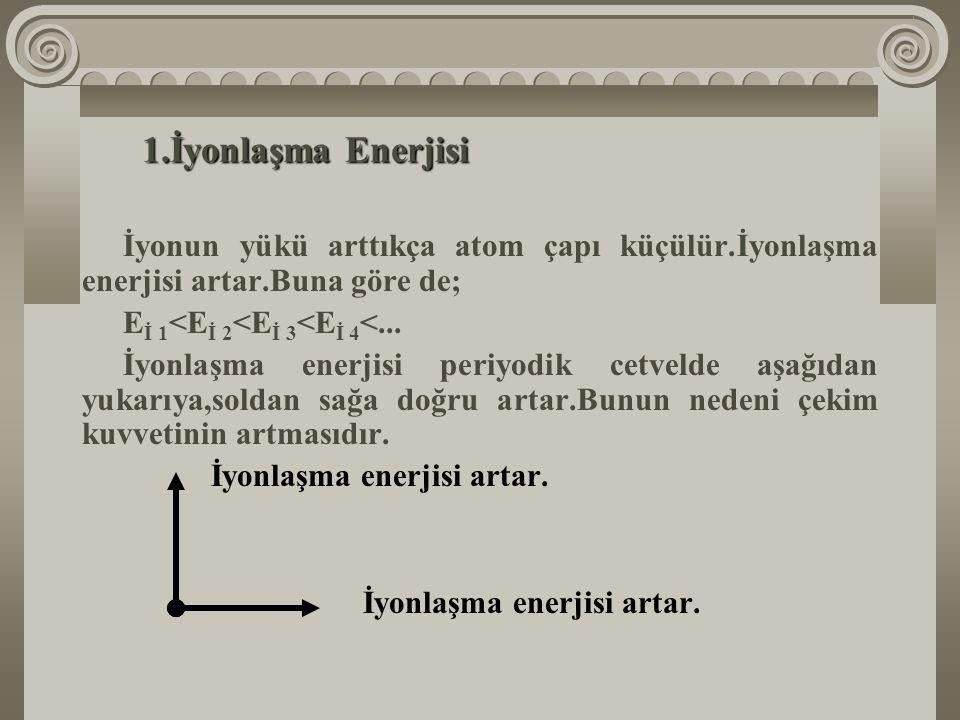 İyonlaşma Enerjisi İyonun yükü arttıkça atom çapı küçülür.İyonlaşma enerjisi artar.Buna göre de; Eİ 1<Eİ 2<Eİ 3<Eİ 4<...