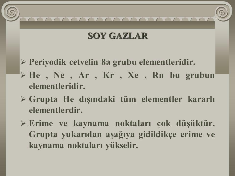 SOY GAZLAR Periyodik cetvelin 8a grubu elementleridir. He , Ne , Ar , Kr , Xe , Rn bu grubun elementleridir.