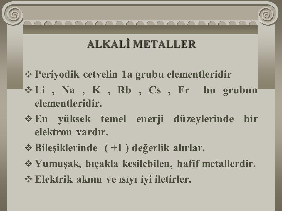 ALKALİ METALLER Periyodik cetvelin 1a grubu elementleridir. Li , Na , K , Rb , Cs , Fr bu grubun elementleridir.