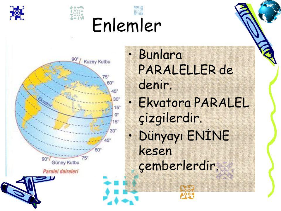 Enlemler Bunlara PARALELLER de denir. Ekvatora PARALEL çizgilerdir.