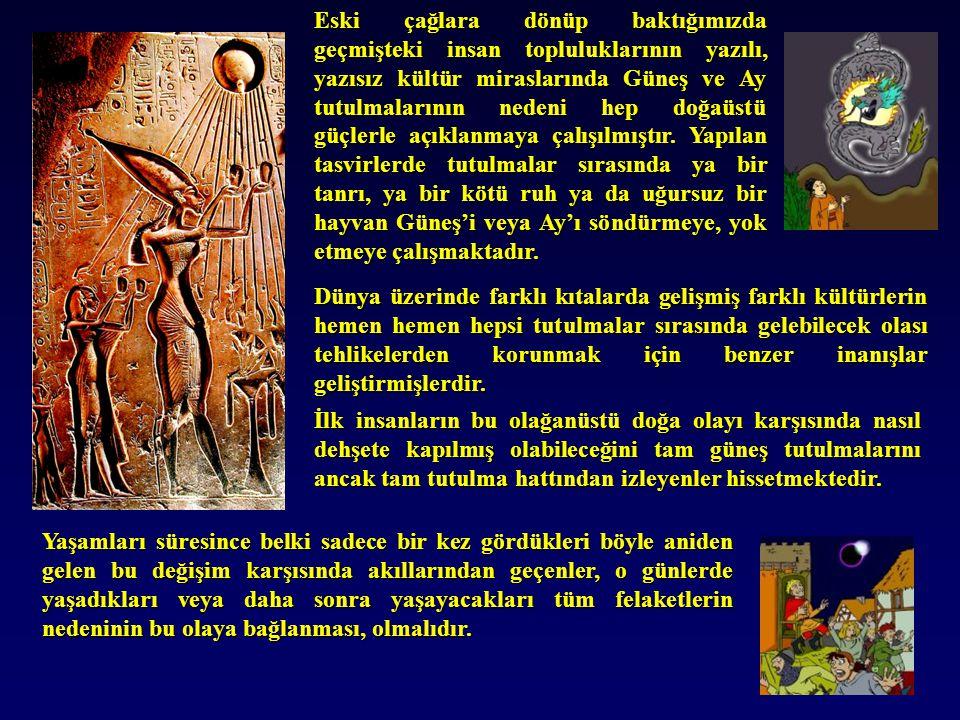 Eski çağlara dönüp baktığımızda geçmişteki insan topluluklarının yazılı, yazısız kültür miraslarında Güneş ve Ay tutulmalarının nedeni hep doğaüstü güçlerle açıklanmaya çalışılmıştır. Yapılan tasvirlerde tutulmalar sırasında ya bir tanrı, ya bir kötü ruh ya da uğursuz bir hayvan Güneş'i veya Ay'ı söndürmeye, yok etmeye çalışmaktadır.