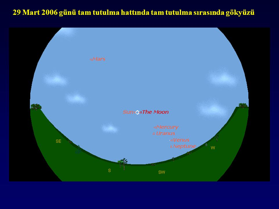 29 Mart 2006 günü tam tutulma hattında tam tutulma sırasında gökyüzü