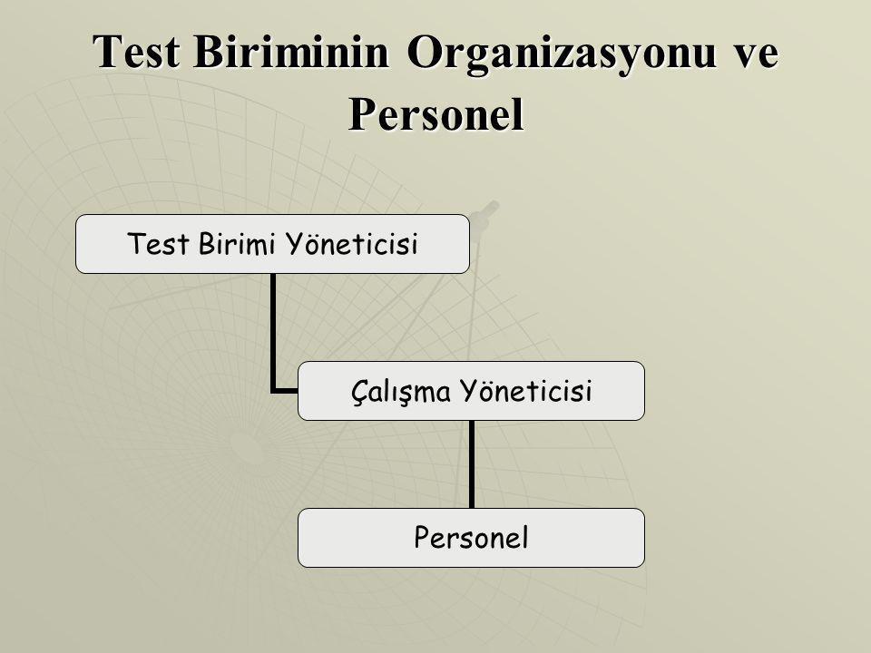 Test Biriminin Organizasyonu ve Personel