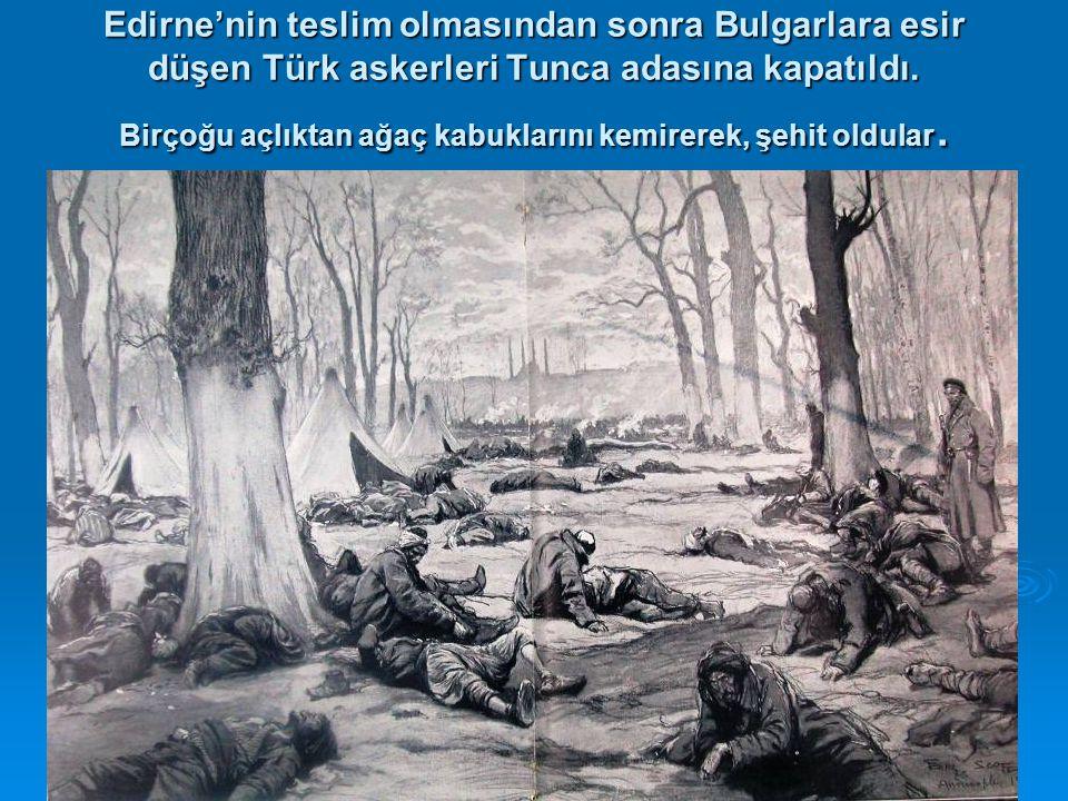 Edirne'nin teslim olmasından sonra Bulgarlara esir düşen Türk askerleri Tunca adasına kapatıldı.