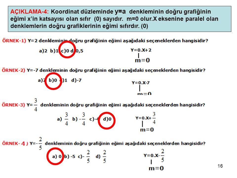 AÇIKLAMA-4: Koordinat düzleminde y=a denkleminin doğru grafiğinin eğimi x'in katsayısı olan sıfır (0) sayıdır.