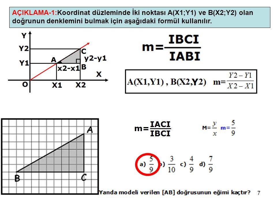 AÇIKLAMA-1:Koordinat düzleminde İki noktası A(X1;Y1) ve B(X2;Y2) olan doğrunun denklemini bulmak için aşağıdaki formül kullanılır.