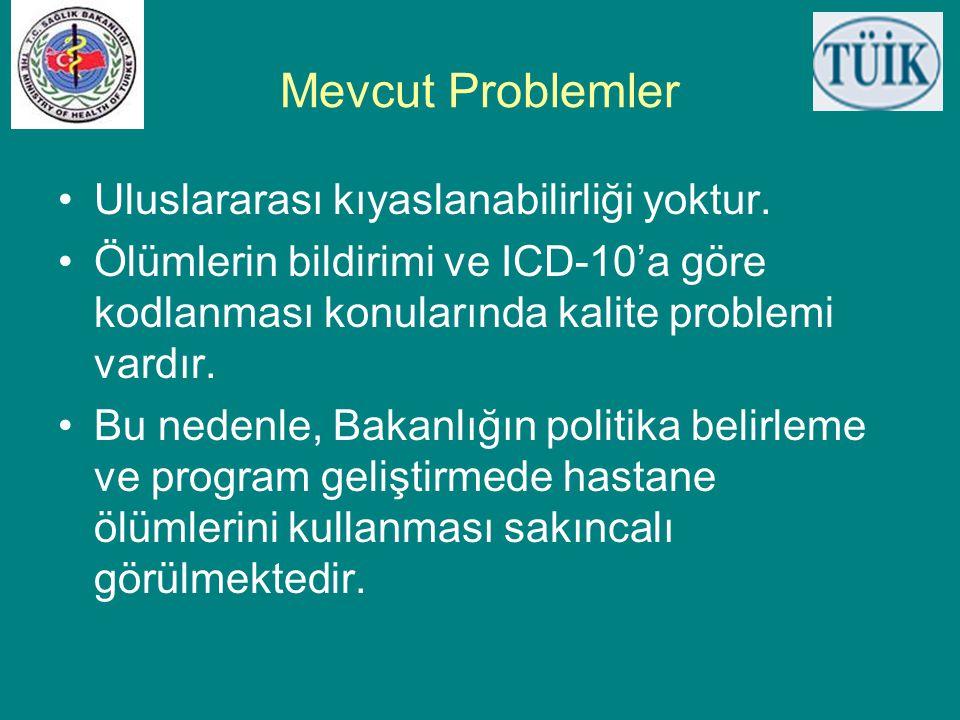 Mevcut Problemler Uluslararası kıyaslanabilirliği yoktur.