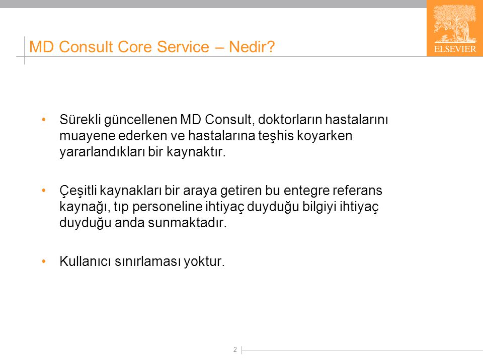 MD Consult Core Service – Kapsamı