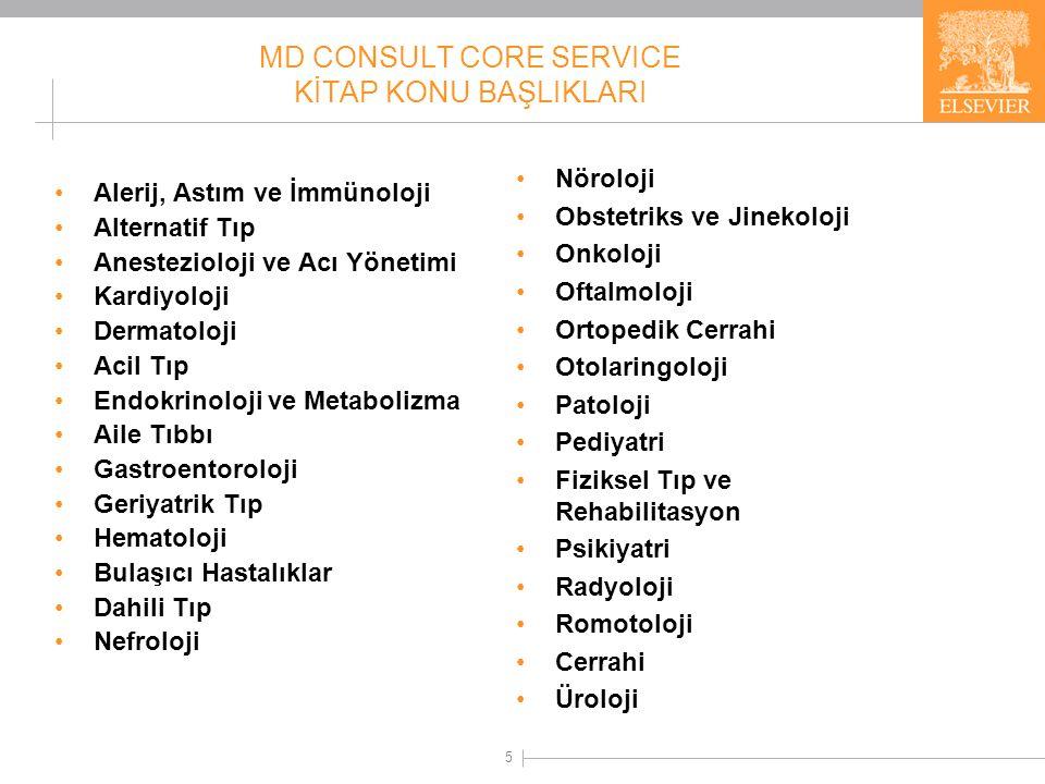 MD CONSULT CORE SERVICE KİTAPLARDAN BAZILARI