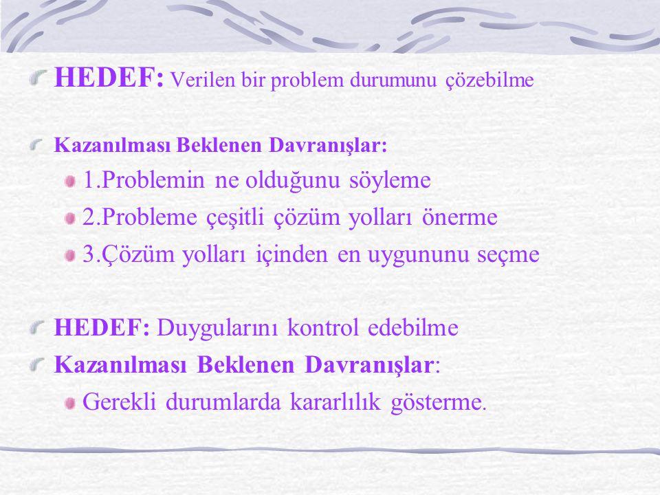 HEDEF: Verilen bir problem durumunu çözebilme