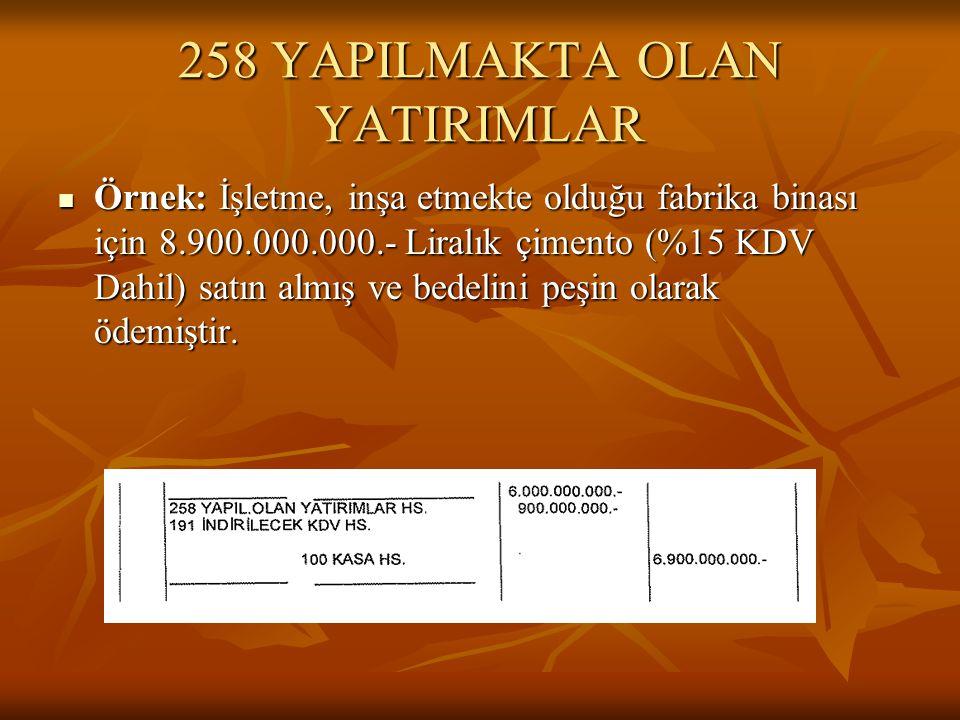 258 YAPILMAKTA OLAN YATIRIMLAR