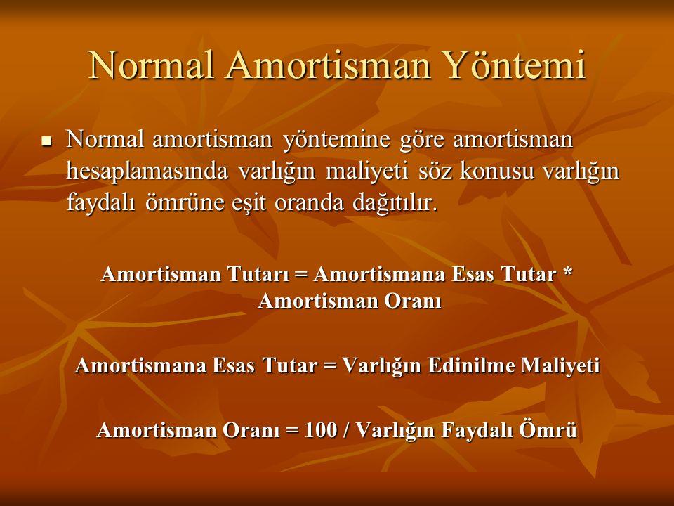 Normal Amortisman Yöntemi