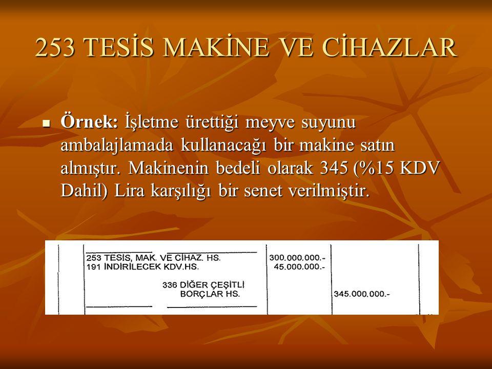253 TESİS MAKİNE VE CİHAZLAR
