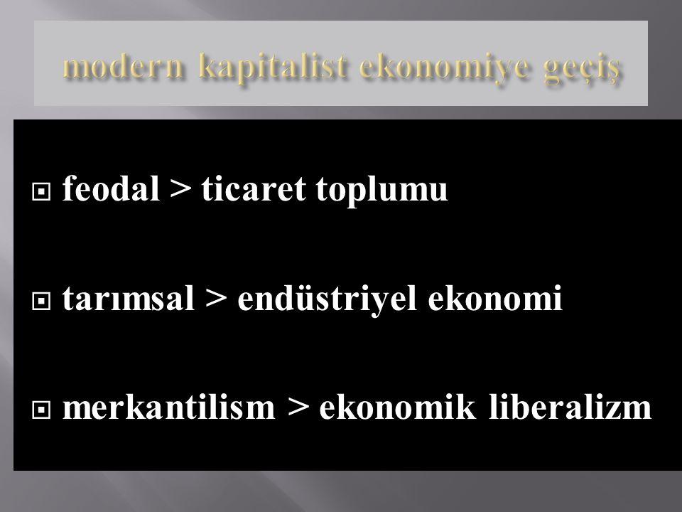 modern kapitalist ekonomiye geçiş