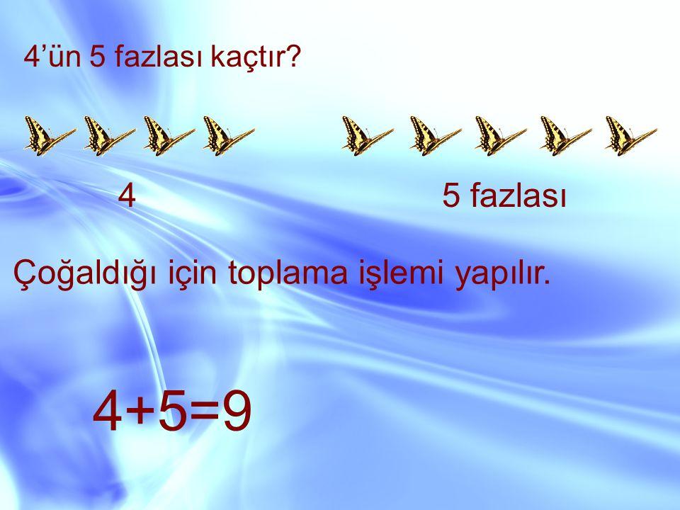 4+5=9 4 5 fazlası Çoğaldığı için toplama işlemi yapılır.