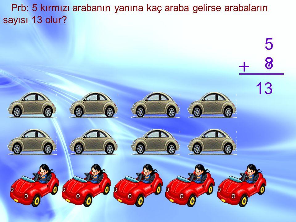 Prb: 5 kırmızı arabanın yanına kaç araba gelirse arabaların sayısı 13 olur