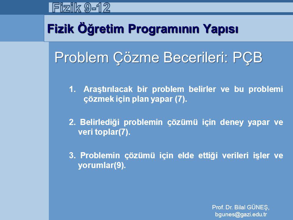 Fizik Öğretim Programının Yapısı