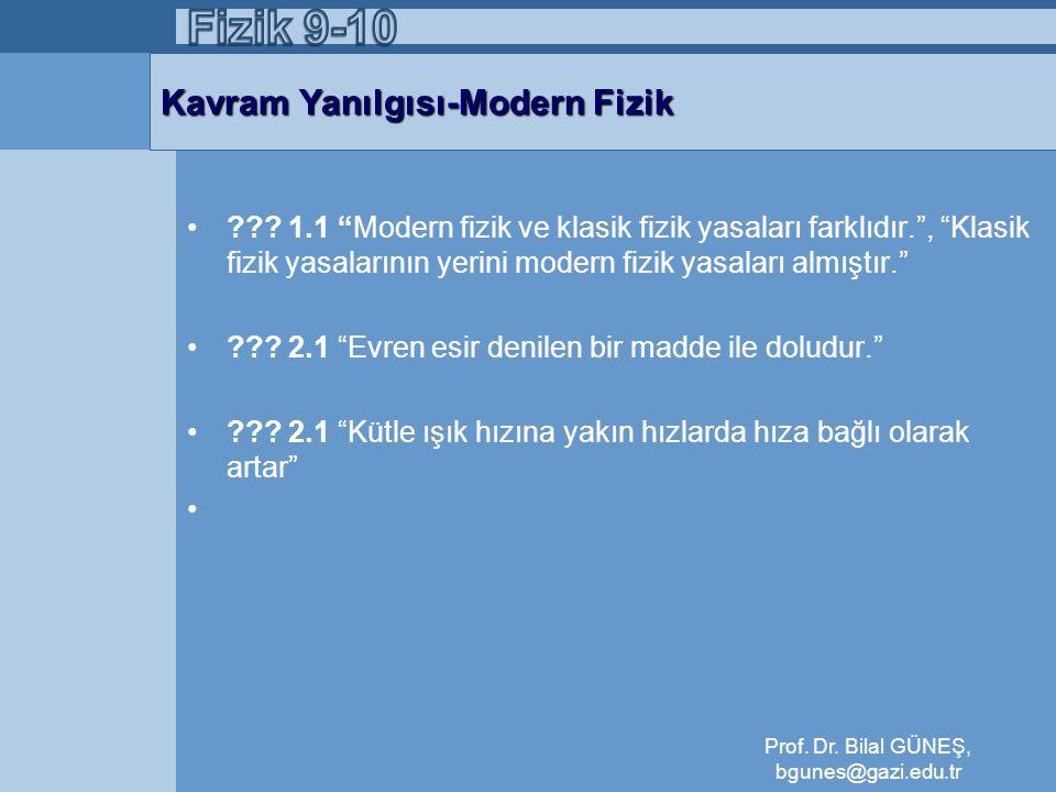 Kavram Yanılgısı-Modern Fizik