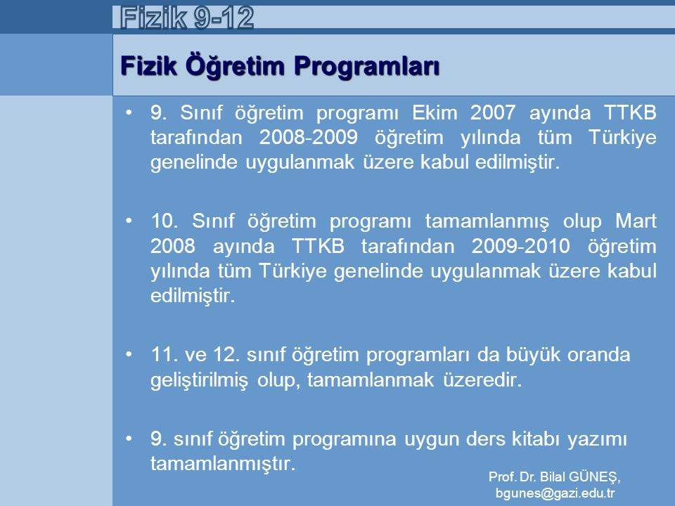Fizik Öğretim Programları