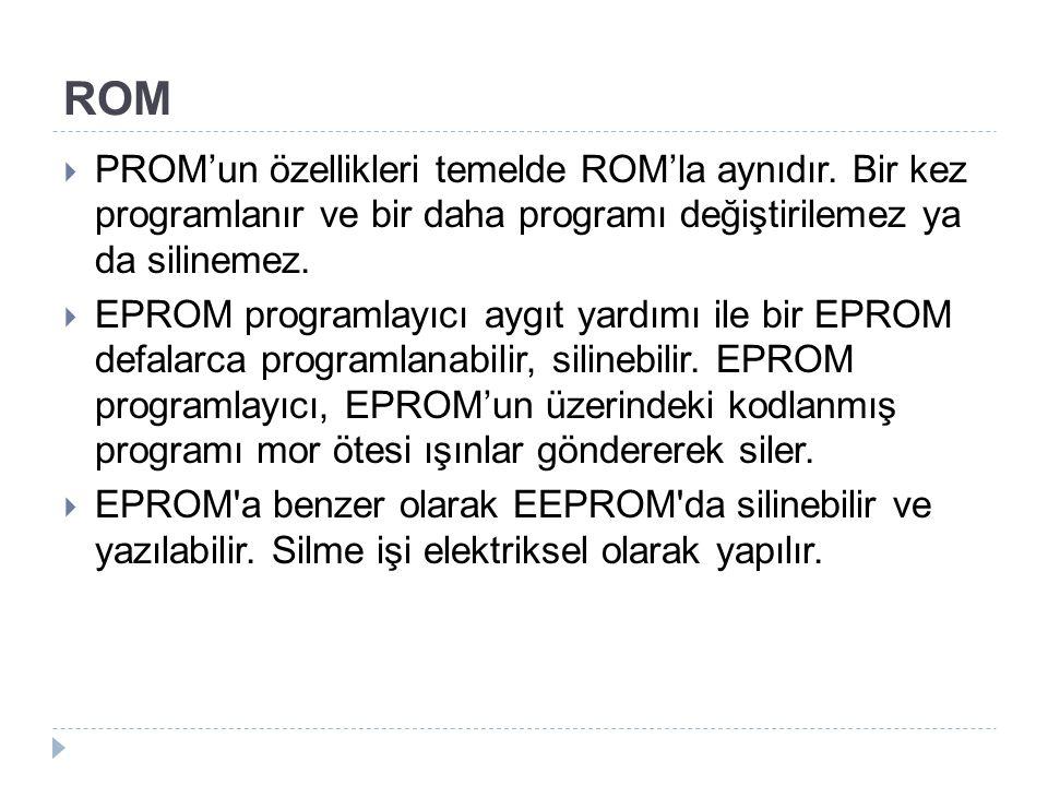 ROM PROM'un özellikleri temelde ROM'la aynıdır. Bir kez programlanır ve bir daha programı değiştirilemez ya da silinemez.