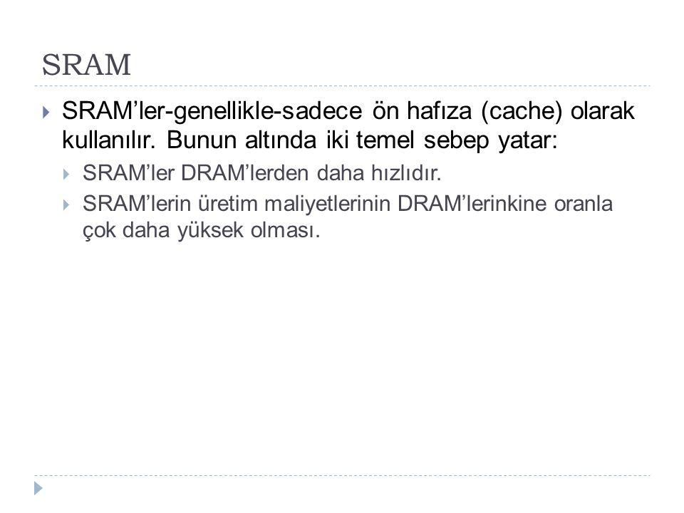 SRAM SRAM'ler-genellikle-sadece ön hafıza (cache) olarak kullanılır. Bunun altında iki temel sebep yatar: