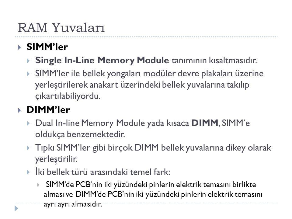RAM Yuvaları SIMM'ler DIMM'ler