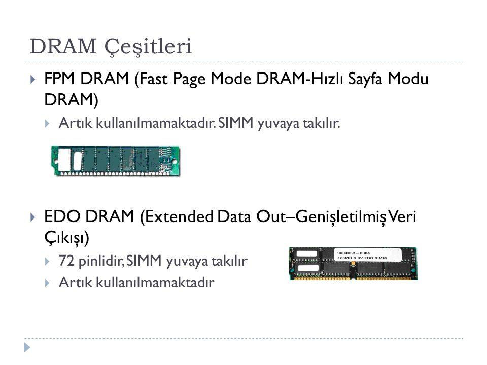 DRAM Çeşitleri FPM DRAM (Fast Page Mode DRAM-Hızlı Sayfa Modu DRAM)