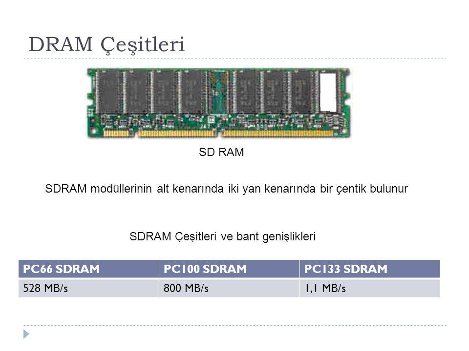 DRAM Çeşitleri SD RAM. SDRAM modüllerinin alt kenarında iki yan kenarında bir çentik bulunur. SDRAM Çeşitleri ve bant genişlikleri.