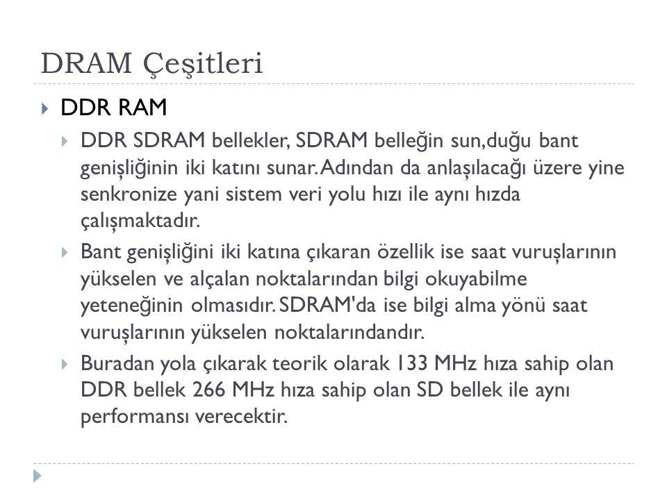 DRAM Çeşitleri DDR RAM.