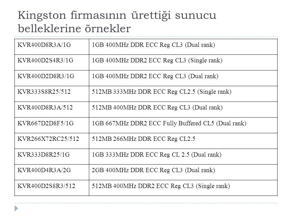 Kingston firmasının ürettiği sunucu belleklerine örnekler