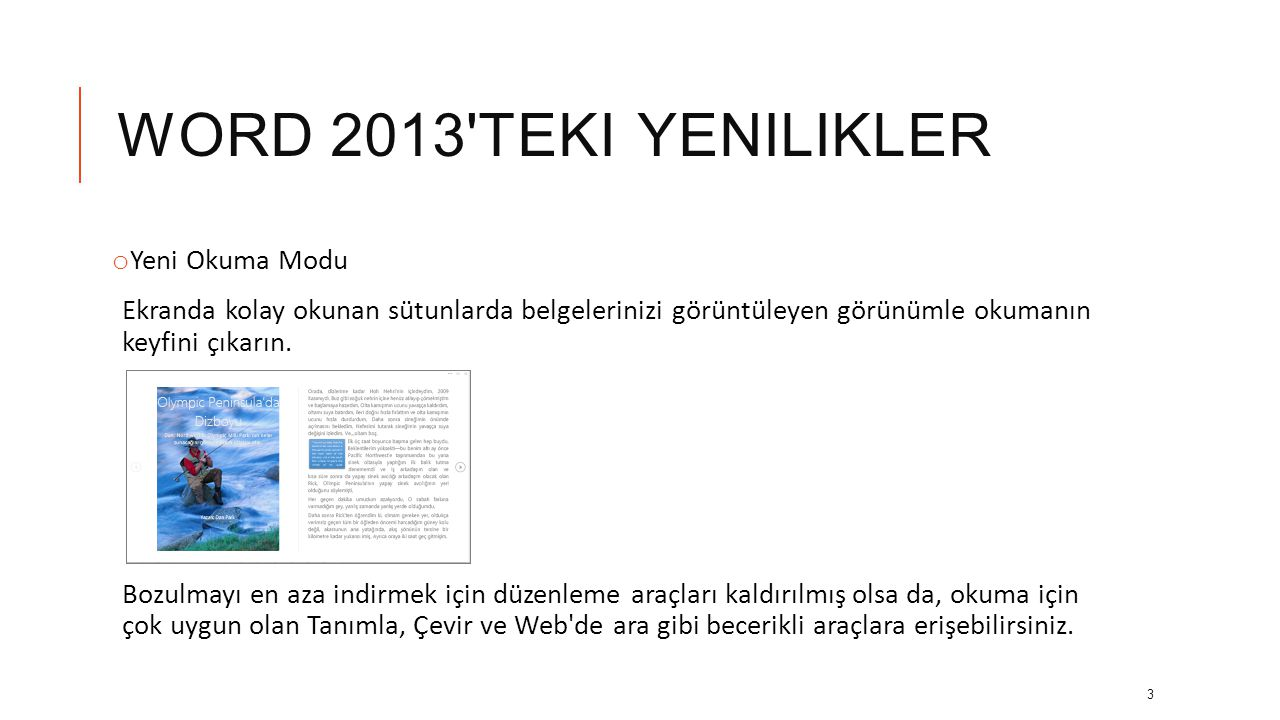 Word 2013 teki yenilikler Yeni Okuma Modu
