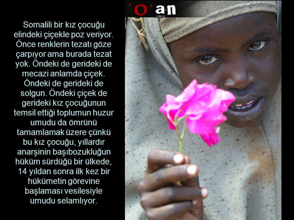 Somalili bir kız çocuğu elindeki çiçekle poz veriyor