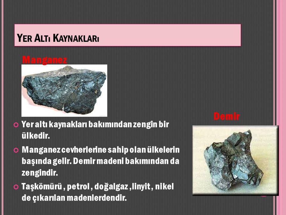Yer Altı Kaynakları Manganez Demir