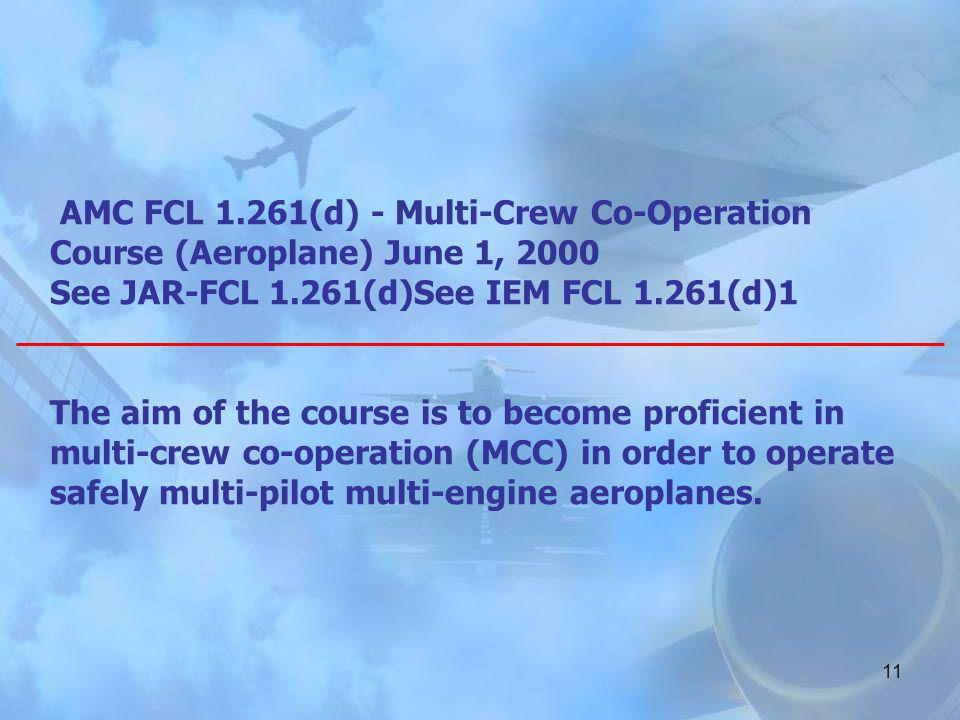 AMC FCL 1.261(d) - Multi-Crew Co-Operation Course (Aeroplane) June 1, 2000 See JAR-FCL 1.261(d)See IEM FCL 1.261(d)1