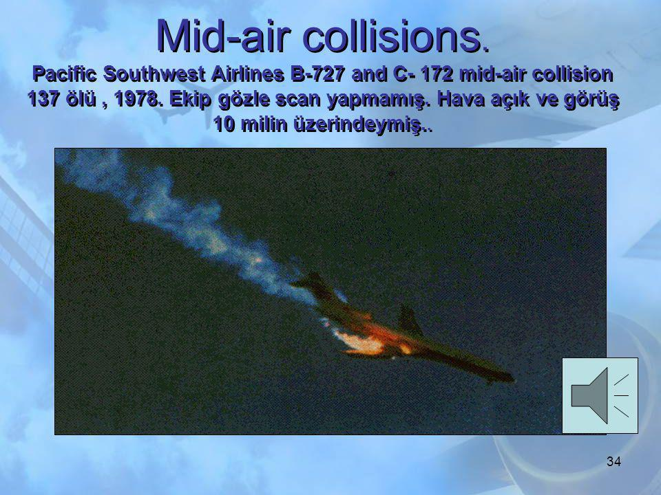 Mid-air collisions. Pacific Southwest Airlines B-727 and C- 172 mid-air collision 137 ölü , 1978.