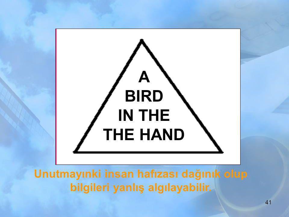 A BIRD IN THE THE HAND Unutmayınki insan hafızası dağınık olup bilgileri yanlış algılayabilir.