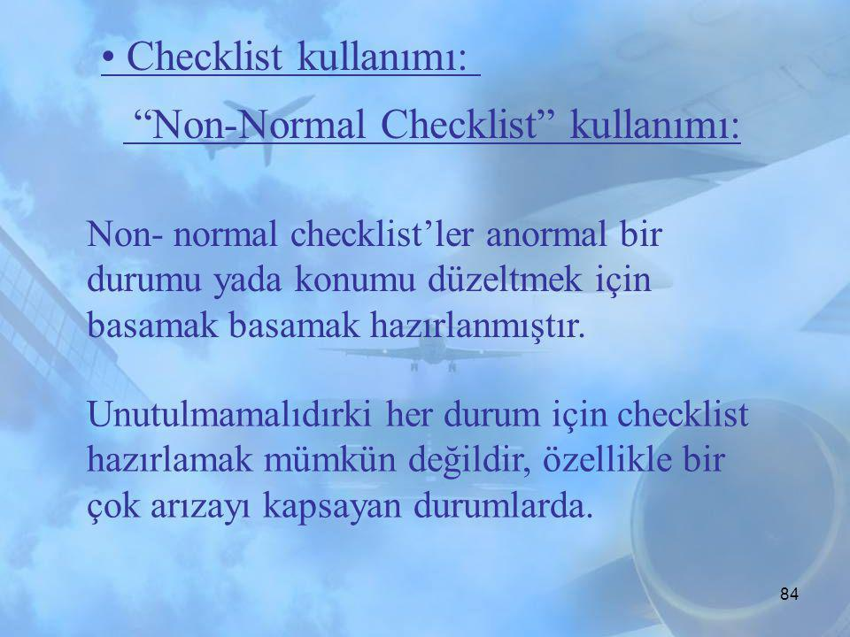 Non-Normal Checklist kullanımı: