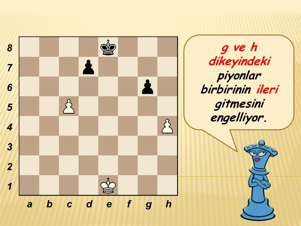 g ve h dikeyindeki piyonlar birbirinin ileri gitmesini engelliyor.
