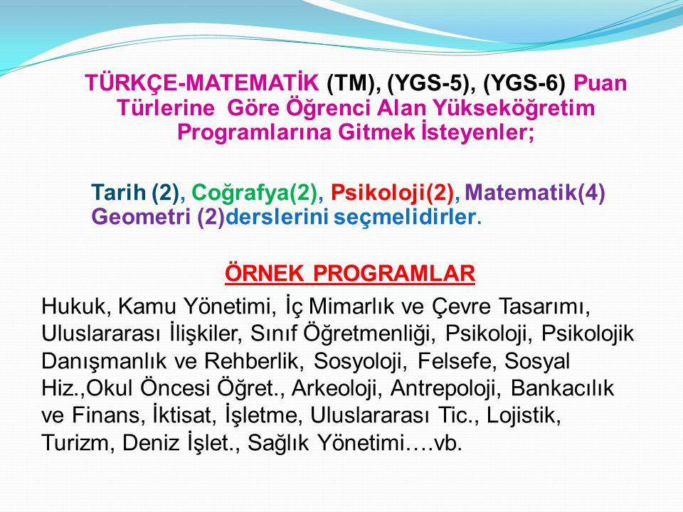 TÜRKÇE-MATEMATİK (TM), (YGS-5), (YGS-6) Puan Türlerine Göre Öğrenci Alan Yükseköğretim Programlarına Gitmek İsteyenler;
