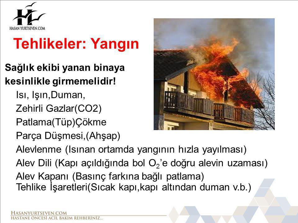 Tehlikeler: Yangın Sağlık ekibi yanan binaya kesinlikle girmemelidir!