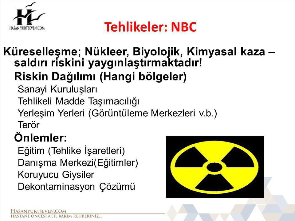 Tehlikeler: NBC Küreselleşme; Nükleer, Biyolojik, Kimyasal kaza – saldırı riskini yaygınlaştırmaktadır!