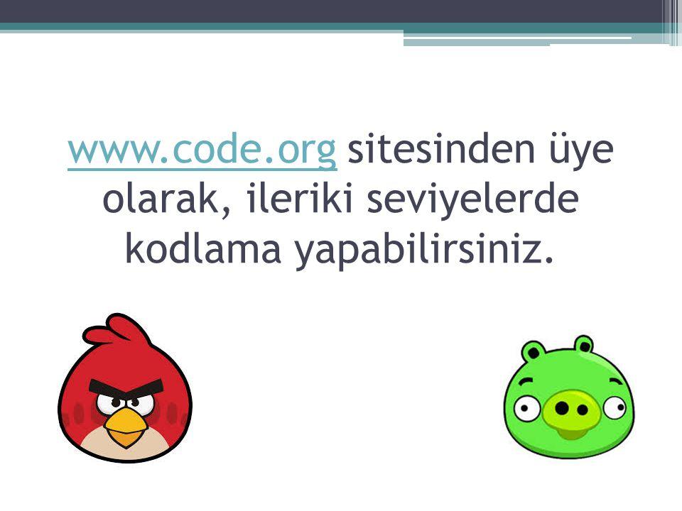 www.code.org sitesinden üye olarak, ileriki seviyelerde kodlama yapabilirsiniz.