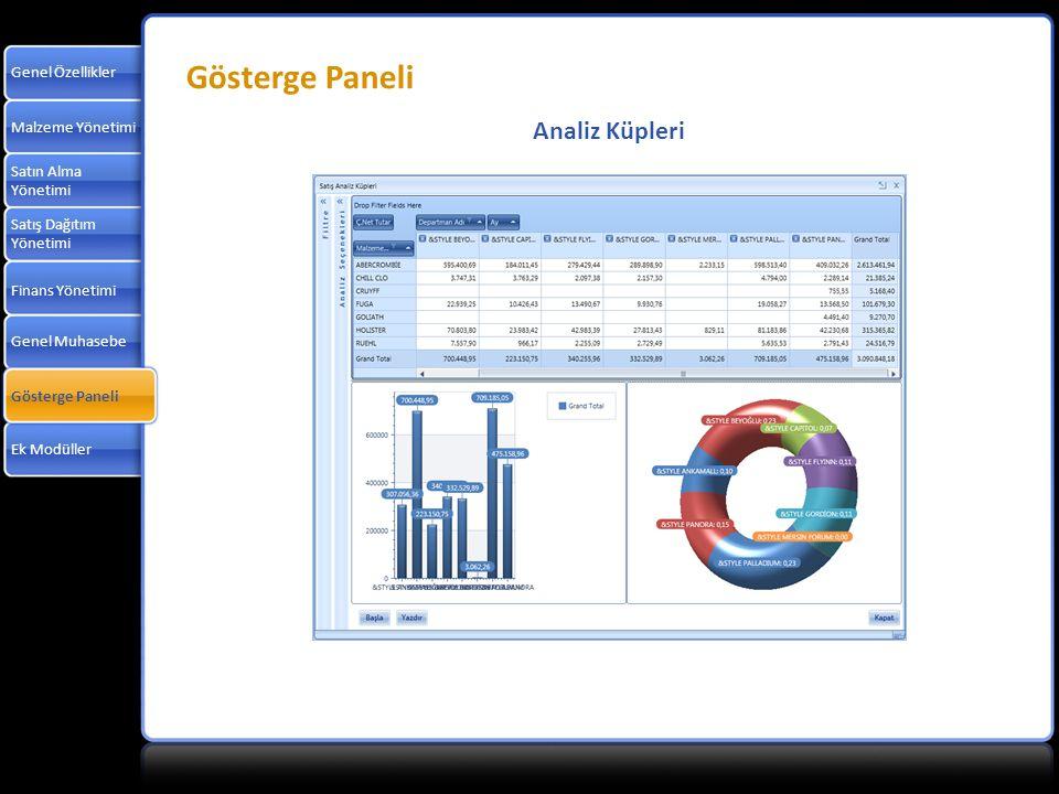 Gösterge Paneli Analiz Küpleri Genel Özellikler Malzeme Yönetimi