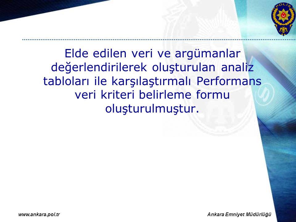 Elde edilen veri ve argümanlar değerlendirilerek oluşturulan analiz tabloları ile karşılaştırmalı Performans veri kriteri belirleme formu oluşturulmuştur.