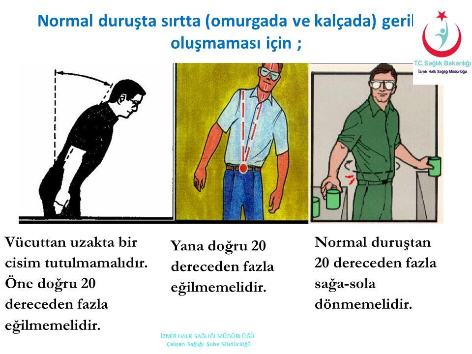 Normal duruşta sırtta (omurgada ve kalçada) gerilim oluşmaması için ;