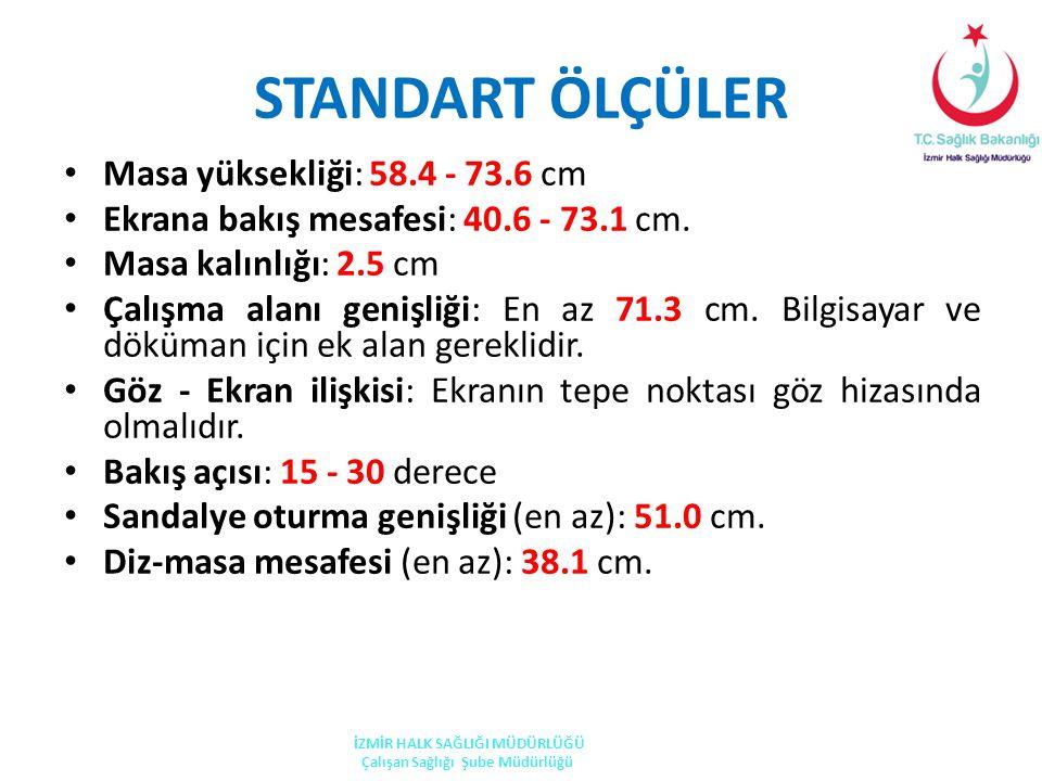 STANDART ÖLÇÜLER Masa yüksekliği: 58.4 - 73.6 cm