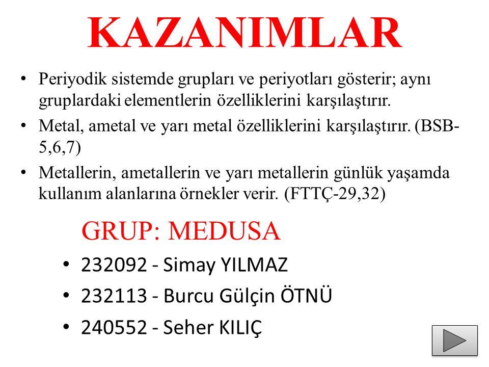 KAZANIMLAR GRUP: MEDUSA 232092 - Simay YILMAZ