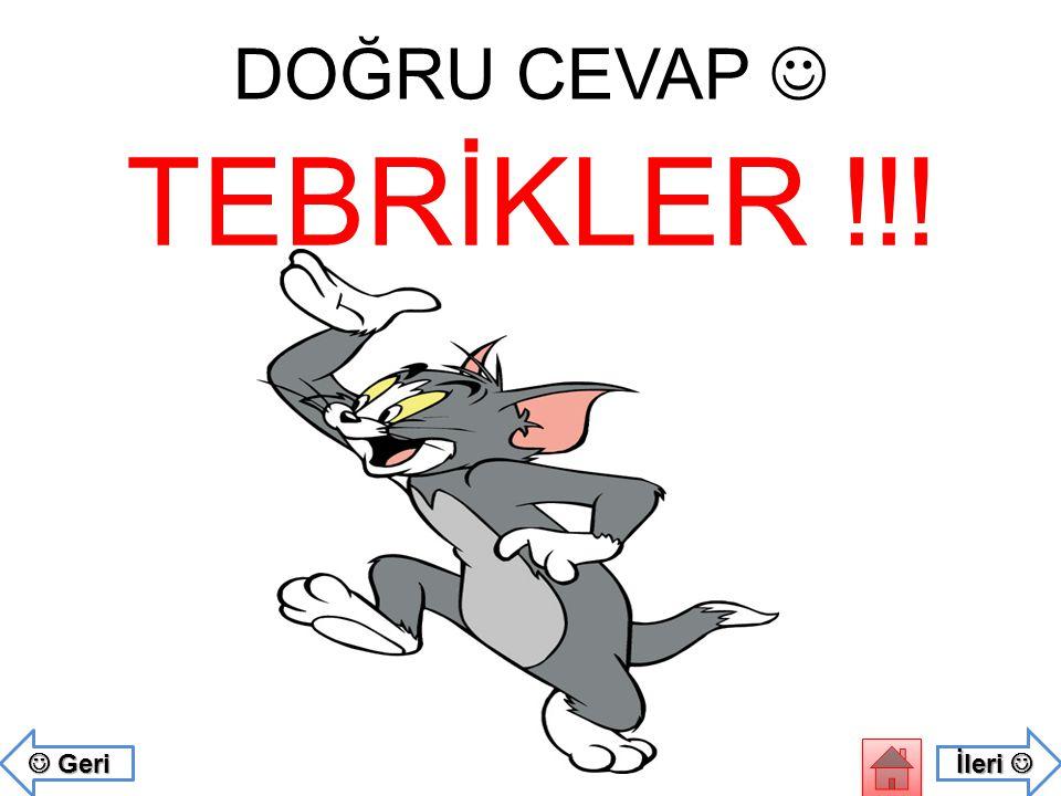 DOĞRU CEVAP  TEBRİKLER !!!  Geri İleri 