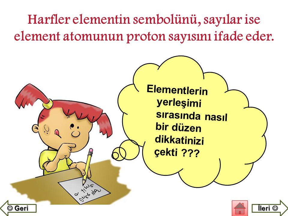 Harfler elementin sembolünü, sayılar ise element atomunun proton sayısını ifade eder.