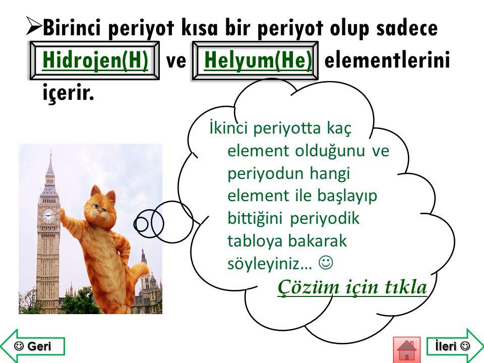 Birinci periyot kısa bir periyot olup sadece Hidrojen(H) ve Helyum(He) elementlerini içerir.